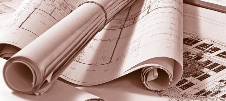 Rolled up blueprint drawings