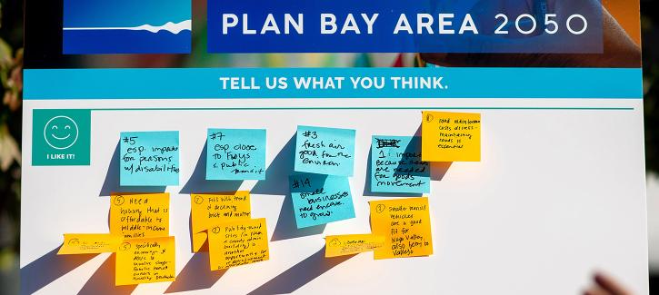 Plan Bay Area 2050 - Tell Us What You Think board with post-it notes