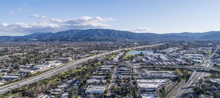 Aerial view of the city of Campbell, in Santa Clara County
