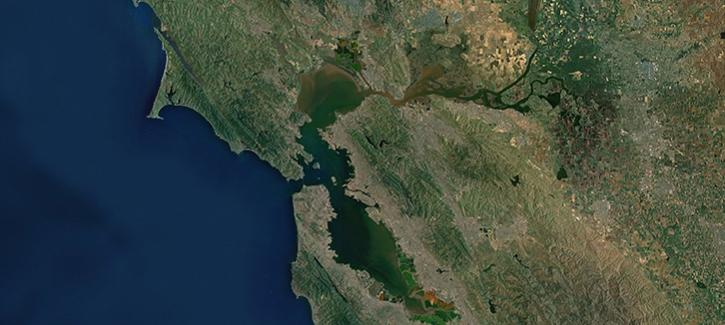 A satellite view of the Bay Area