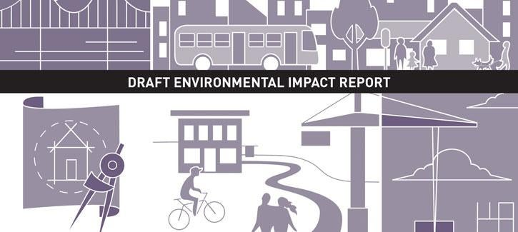 "Illustration showing people at work and at play with ""Draft Environmental Impact Report"" banner across the top"