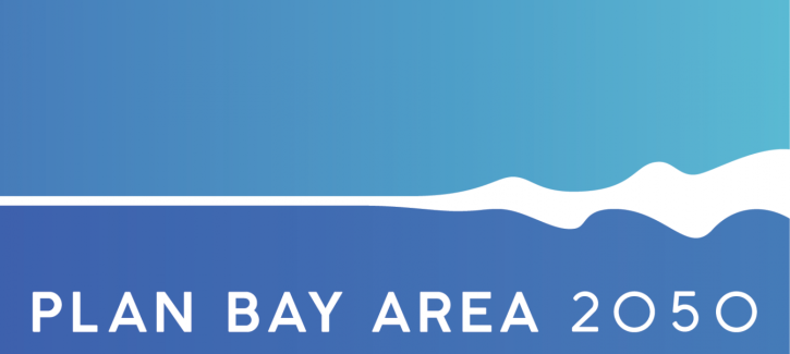 "Plan Bay Area 2050 logo, with ""Plan Bay Area 2050"" text along the bottom edge. A light blue color, like the sky, fills the top half while the bottom half is a dark blue. A white line, like a wave, bisects the two blue sections."