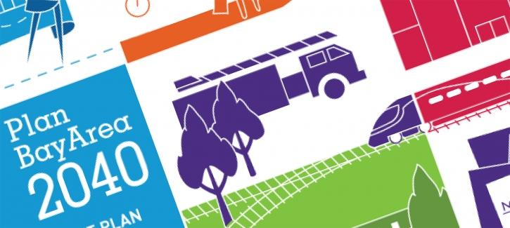 Plan Bay Area 2040 cover image snippet, with logo and illustrations of trucks, trains, trees