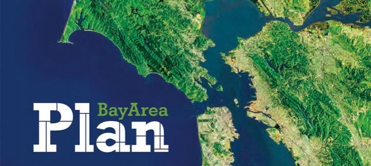 Plan Bay Area logo with regional map in the background