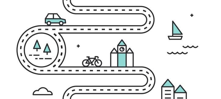Illustrated roadmap with cars, trees, bicycle, building and sailboat.