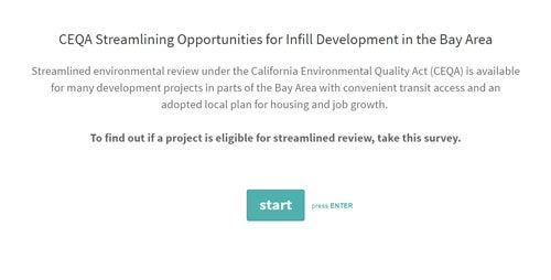 Landing page for CEQA Streamlining Survey
